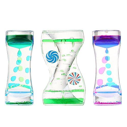 3 Pack Liquid Motion Bubbler Timer: Best Sensory Toy for Relaxation, Liquid Motion Timer Toy Floating Color Lava Lamp Timer - Effective Calming Toy for Kids & Relaxing Liquid Bubbler Timer for Adults