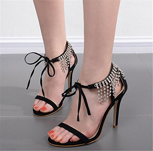 HETAO Personality Womens Ladiessexy Straps Rhinestones High Heels Sandals Ankle Strap Stiletto Party Evening Shoes Size Girl's Gift Black JhzEFm7