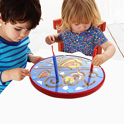 Magnetic Maze - Lewo Wooden Magnetic Maze Educational Toys Dry Erase Easel Board Puzzles Games for Kids