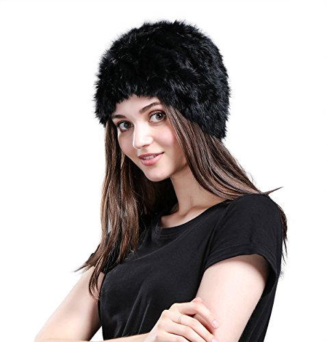 Metrekey Womens Winter Snow Hats Real Rabbit Fur Cap Cold Weather Ladies Beanies (Cold Weather Ball Cap)