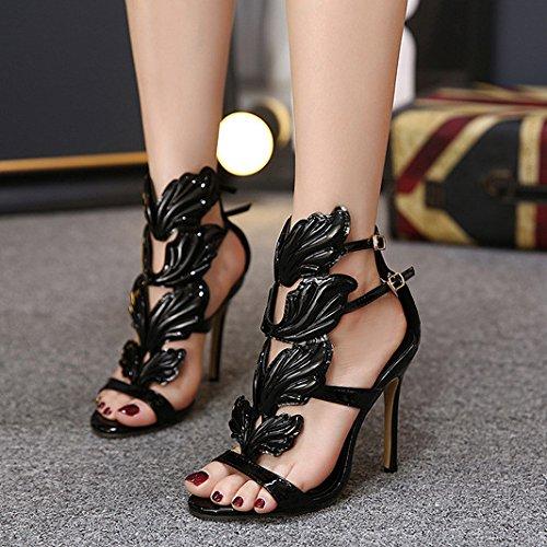 Toe De Ouvert Partie Femmes À Sandales Ailes Zyqme Noir Club Mariage Talons Chaussures Luxe Femmes Sexy Bretelles De Pompes Cheville Hauts Stiletto Strap FATZwgqA