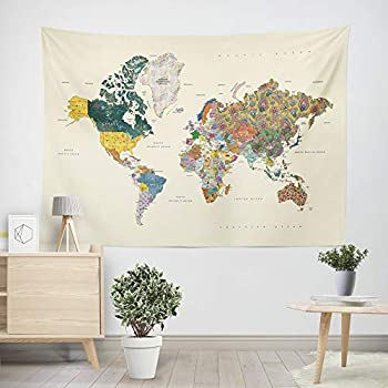 LIVETTY Tapestry Abstract Map Wall Hanging Collage of Extra Large World Map in Mandala Pattern Tapestries Fade Resistant Microfiber Graduation Wall Decor for Living Room 84x59 Inch Yellow