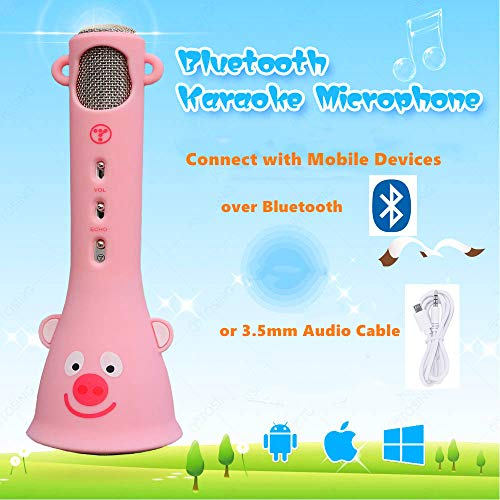 TOSING Wireless Karaoke Microphone for Kids, Top Birthday Gifts for Girls 2019, Best Present Toys for Kids Girls 4 5 6 7 8 9 Years Old, for 10 11 12 Yrs Teenager, Bluetooth Karaoke Machine