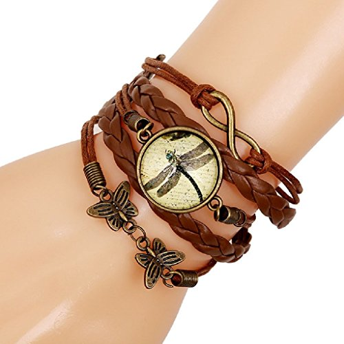 AutumnFall Hot Fashion Butterfly Dragonfly Leather Chain Charms Bracelet Jewelry Gift - Hot Diamonds Tennis Bracelet