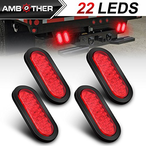 AMBOTHER Oval 6 22 LED Trailer Lights Red Stop/Turn Signal/Brake/Marker/Tail LED Light, Flush Mount for Truck Trailer Trail Bus 12V Red (Pack of 4)