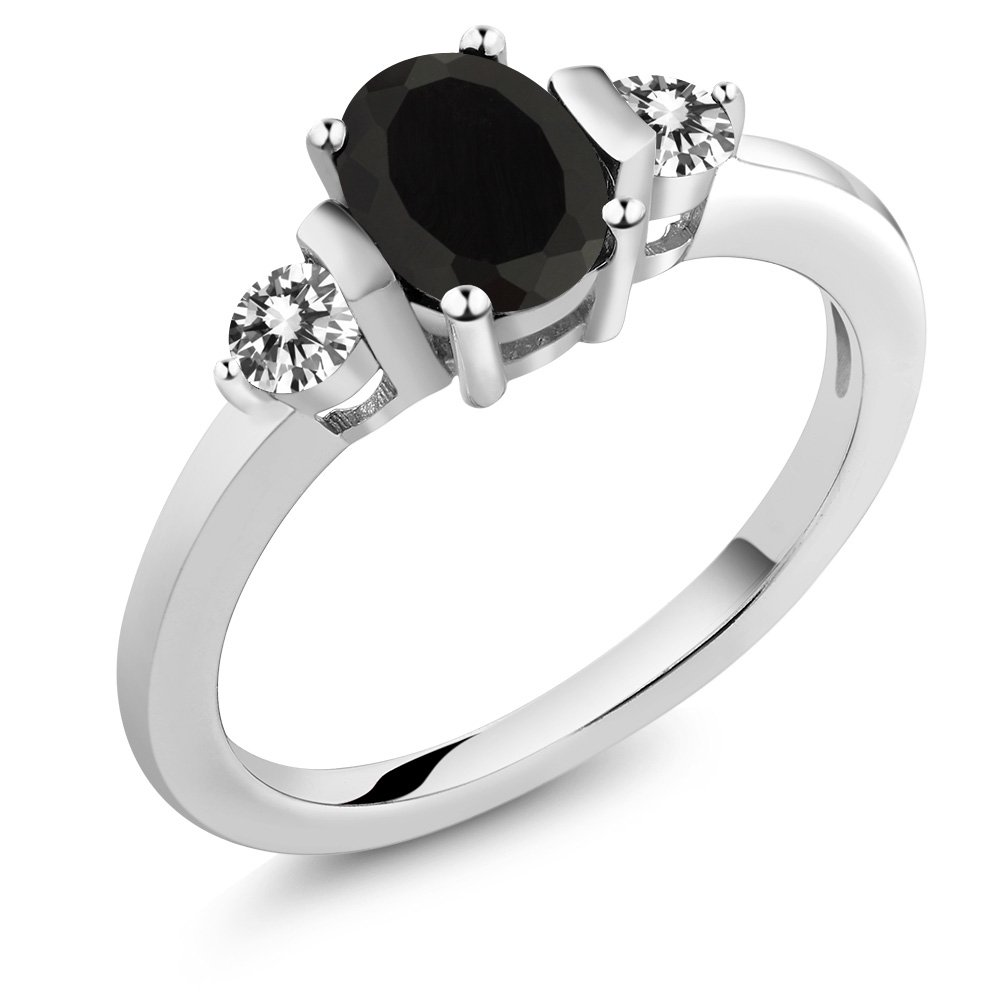 1.00 Ct Oval Black Onyx White Diamond 925 Sterling Silver Ring