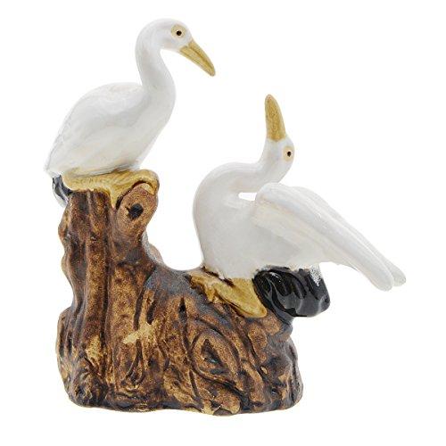 Saim Aquarium Landscape Décor Decorative Ceramic Couple Cranes Ornaments for Fish Tank Decorations