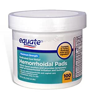 Amazon.com : Equate - Hygienic Cleansing Pads, Hemorrhoidal Vaginal Medicated Pads ...