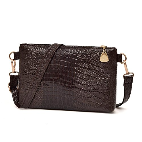 Tote Pattern Handbag Crocodile (Women Fashion Handbag Crocodile Pattern Shoulder Bag Small Tote Ladies Purse (Purple))