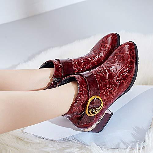 Tacco Da Alto Con Stivaletti Donna Scarpe In Casual Moda Fibbia Cerniera Invernali Coccodrillo Pelle Red Modello Stivali stivali CS8pw