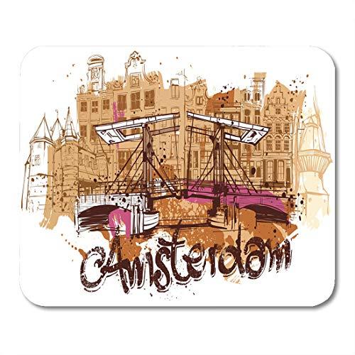 ridge Dutch Amsterdam Sketch Street Amstel Antique Architecture Beauty Mouse Pad for notebooks, Desktop Computers mats 16