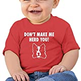 Don't Make Me Herd You Border Collie Baby Short-Sleeve Round Neck Shirts Baby Undershirts Tees - For Boys And Girls Red 6 M