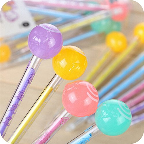 KitMax (TM) Pack of 12 Pcs 0.38 Mm Cute Cool Glow In The Dark Noctilucent Lollipop Candy Decor Gel Ink Pen Office School Supplies Students Children Gift (Color May Vary)