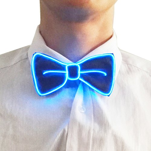 Novelty Light Up Bow Ties 10 Color Choice with the Function of Flashing(Blue)
