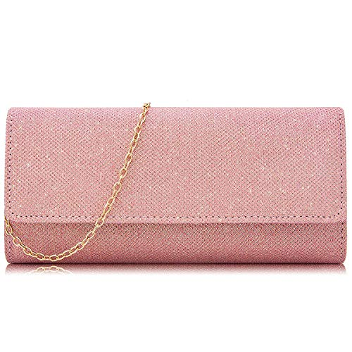 Milisente Clutch Purses For Women Glitter Evening Purse Sparkly Clutches Bag(Light Pink)