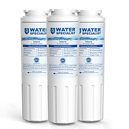 Waterspecialist UKF8001 Replacement Refrigerator Water Filter, Compatible with PUR, Jenn-Air, Maytag UKF8001, UKF8001AXX, UKF8001P, EDR4RXD1, EveryDrop Filter 4, Whirlpool 4396395(Pack of 3) by Waterspecialist