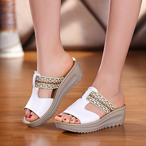 e 39 di pendenza spessore bianco di scarpe Sandali la cm comode parola e AJUNR Donna 5 con con elegante pan Alla Moda pantofole 36 trascinare Da spagna wS8zFvq7