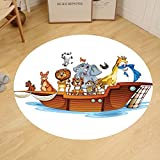 Gzhihine Custom round floor mat Noahs Ark Decor Old Christian Story Noahs Ark with Set of Animals in the Boat Journey Faith Cartoon Print Bedroom Living Room Dorm Decor Multi