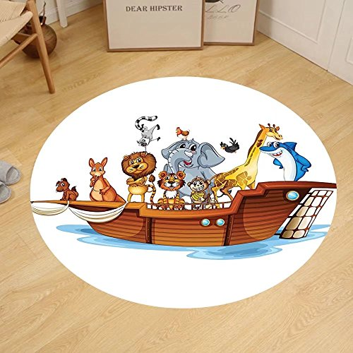 Gzhihine Custom round floor mat Noahs Ark Decor Old Christian Story Noahs Ark with Set of Animals in the Boat Journey Faith Cartoon Print Bedroom Living Room Dorm Decor Multi by Gzhihine
