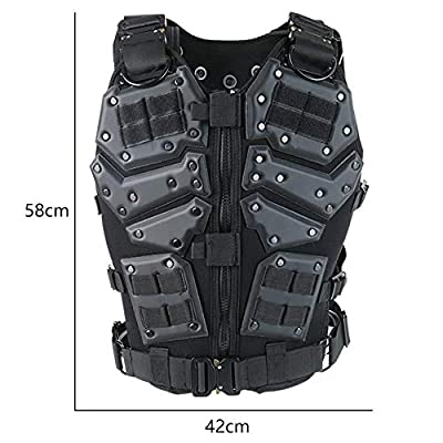 ActionUnion Airsoft Tactical Vest Military Costume With Pouches Plates Molle Chest Protectors Paintball Vest CS Field Outdoor Modular Combat Training For Adults Men Special Forces Adjustable EVA Black