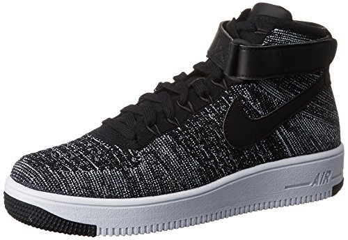 (Nike AF1 Ultra Flyknit Mid mens basketball-shoes 817420-004_10.5 - Black/Black-White )