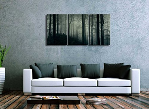 Three Piece Dark Tree Forest in a Foggy Night on 3 Panels