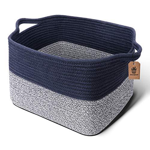 Goodpick Cube Storage Bins - Shelf Baskets for Storage Towel Book Cloth Storage Bins for Office Woven Basket for Shelves Baby Laundry Basket Toys Storage Basket Closet Storage Basket, 13x9.8x 9
