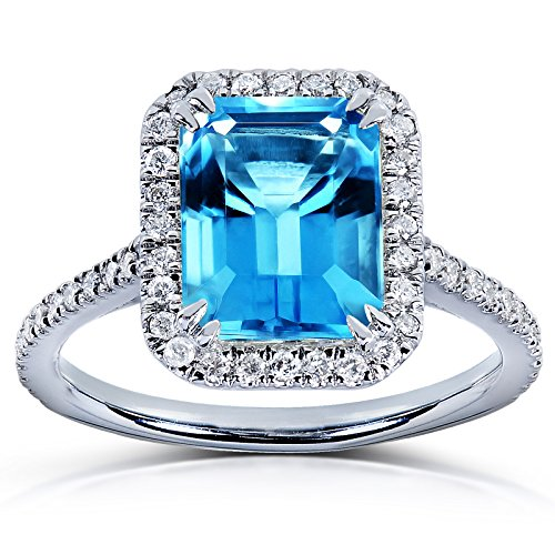 Gold Swiss Cut Ring - Emerald Cut Swiss Blue Topaz and Diamond Halo Ring 3ct CTW 14k White Gold, 9.5