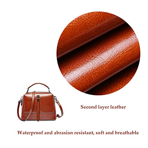 FFYUYI rent läder hinkar handväska, moderiktig normallack dragkedja dekorerad liten axelväska retro, dam shopping dejting arbete vattentät axelväska