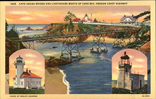 (Cape Arago Bridge and Lighthouse Coos Bay, Oregon Original Vintage Postcard)