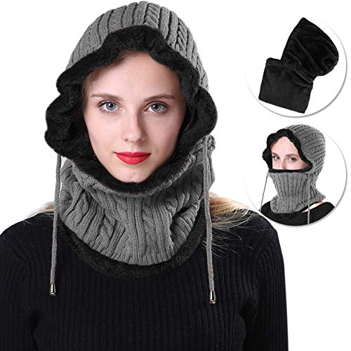 Eccoo House Winter Knitted Hat Fleece Lined Waterproof Ski Face Mask Balaclava Cap for Women Men (Grey)