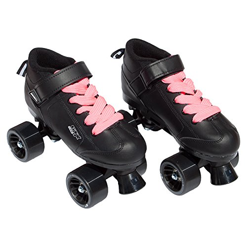 Pacer Mach-5 Black Pink Speed Skates - Mach5 GTX500 Quad Roller Skates,,Mens 6 / Ladies (Women Quad Roller Skates)
