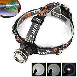 Welltop® CREE XM-L XML Adjustable Beam Headlamps T6 LED 1800Lm Zoom Headlight Flashlight Head Lamp Torch Head Light Aluminum alloy casing for Hunting Camping Fishing Hiking Cycling (Black)
