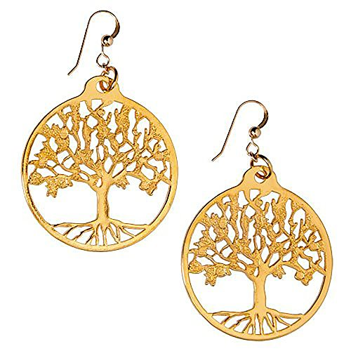 Pendant Dangle Gold Cast Wire (Tree of Life Gold-dipped Earrings on French Hooks)