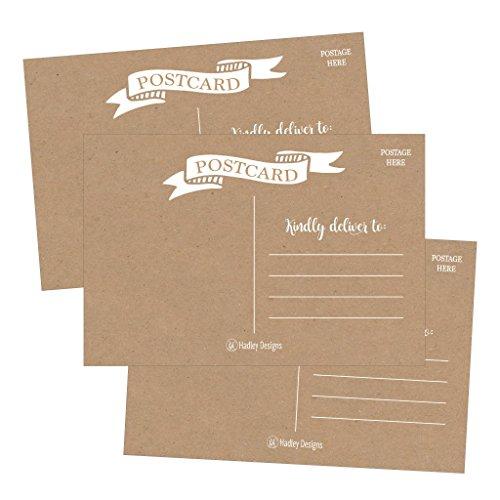 25 Rustic 4x6 Blank Postcard Paper Cardstock, DIY Kids Illustrated Design Coloring Postal Cards For Children, Bulk Printable Plain Kraft Mailable Template Appointment Reminders Inkjet or Laser (Love Postal Stamps)