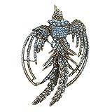 EVER FAITH Vintage Style Phoenix Brooch Blue Austrian Crystal Gold-Tone