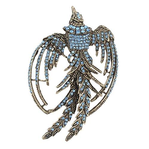 EVER FAITH Vintage Style Phoenix Brooch Blue Austrian Crystal Gold-Tone by EVER FAITH