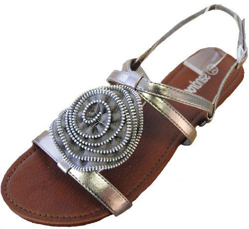Ladies Sandocks Zip Flower Sandal Available in Grey or Black FT402 Grey SeWUFCybbJ