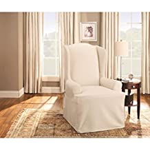 Sure Fit Duck Solid - Wing Chair Slipcover  - Linen (SF27661)