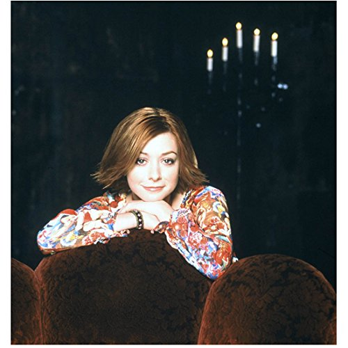Alyson Hannigan 8 inch x 10 inch PHOTOGRAPH Red Short Bob Haircut Floral Dress Shirt Candelabra in Back Mid