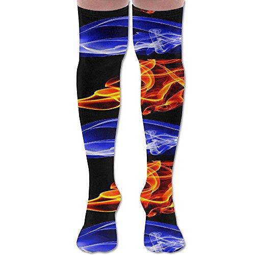 Men Women Flame Braze Colorful Premium Knee High Socks Athletic Soccer Crew Tube Sock Stockings Sports Outdoor ()