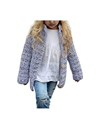 Anxinke Little Girls Button Down Knitted Sweaters Cardigan Coats Purple