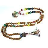 Sri Yantra Pendant Spiritual Mala Navgraha Nine Stone Rudraksha Beads Meditation Yoga Mala