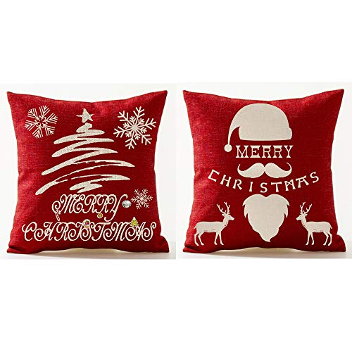 XMNTG Merry Christmas Snowflake Christmas Tree Elk Santa Claus Cane Candy Best Gift Square Throw Pillowcase Pillow Cover Cotton Linen Cushion Cove Family Decoration Case 18 Inch