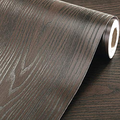Emoyi Self-adhesive Removable Wood Grain Faux Finish Textured Vinyl Wrap Wallpaper Film for Home Office Furniture 12''x79'' (Black)