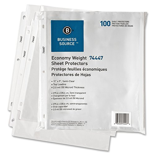 (Business Source 74447 Sheet Protectors,Top Load,3HP,2.0mil,11 in.x8-1/2 in.,100/PK,Semi-Clear)