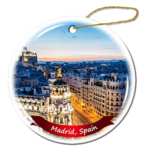 Fhdang Decor Madrid Spain Christmas Ornament Porcelain Double-Sided Ceramic Ornament,3 - Madrid Real Ceramic