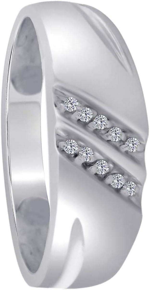 Mens Stylish Diamond Engagement Wedding Ring In 10K White Gold