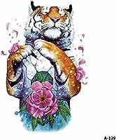 WYUEN - 12 pegatinas temporales para tatuaje de tigre de acuarela ...