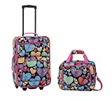 Rockland Printed 2 PC NEWHEART LUGGAGE SET